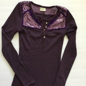Free People Shirt Henley Purple Sequin Size S